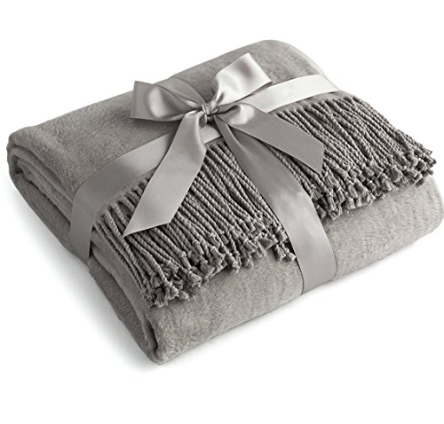 Mohair Wool Throw - Luxury Pure 100% Mulberry Silk Throw, Genuine Natural 100% Silk Oversized Super Soft Plush Blanket in Ivory or Beige (Grey)