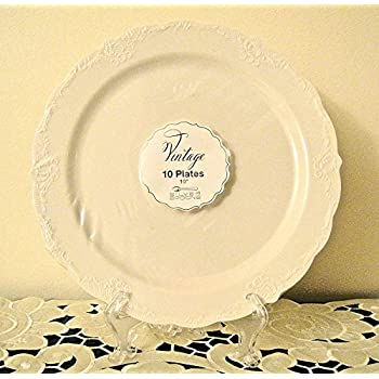 Vintage Disposable Plates - Ivory - Set of 10 (Ivory)  sc 1 st  Amazon.com & Amazon.com: Vintage Disposable Plates - Ivory - Set of 10 (Ivory ...