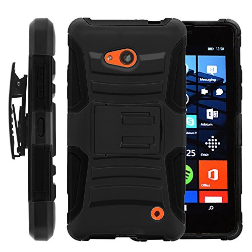 Lumia 640 Case, Lumia 640 Holster, Two Layer Hybrid Armor Hard Cover with Built in Kickstand for Microsoft Lumia 640 RM-1109 (T Mobile, Metro PCS) from MINITURTLE | Includes Screen Protector – Black