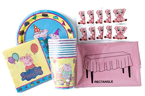 Peppa Pig Birthday Party Tableware Supplies with Bonus Pig Stickers for 8 Guests: 8 Dessert Plates, 8 Cups, 16 Napkins, 1 Tablecover, and 10 BONUS PIG STICKERS!