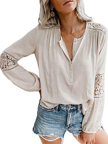 Valphsio Womens Lace Crochet Long Sleeve Blouse V Neck Hollow Button Shirts Tops