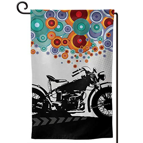 Private Bath Customiz Motorcycle Abstract Circle Modern Life Welcome Garden Flag Double Sided 12.5 X 18 Inch Summer Yard Decor Outdoor Home Double Sided -