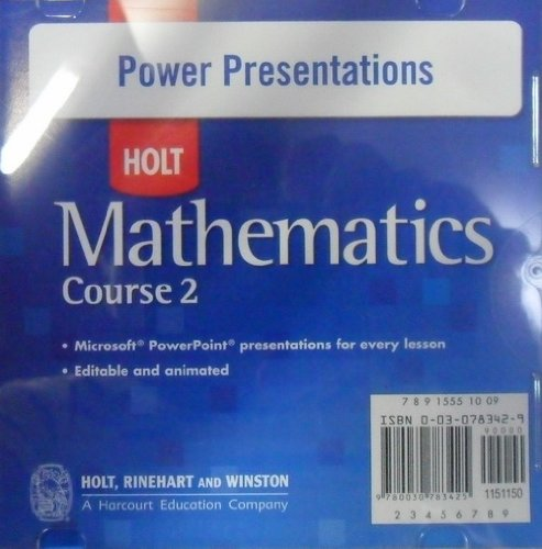 Holt Mathematics Course 2: Power Presentations CD-ROM