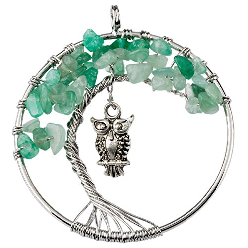 SUNYIK Green Aventurine Tree of Life Pendant,Tumbled Stone Wire Wrapped Owl Necklace,Healing Chakra