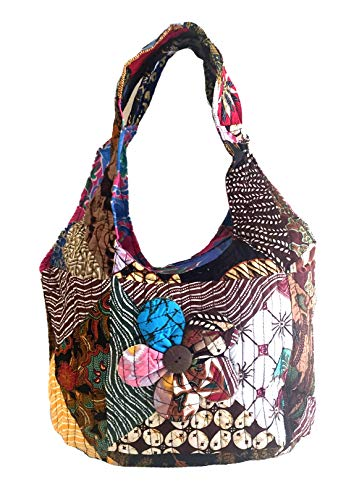 OMA Multi Color Boho Bohemian Hippy Shoulder Sling Purse Hand Bag With Brocade FEDERAL (TM) BRAND