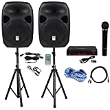 Package: Rockville Power GIG RPG-122K 1,000 Watt All In One DJ/PA Package (2) Speakers, Speaker Stands, Wired Mic + Rockville RWM1000VH VHF Wireless Single HandHeld Microphone System + RCA Cables