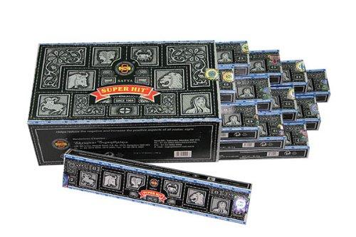 Räucherstäbchen 12x 15g SATYA SUPERHIT (schwarz) Original aus Indien, GROSSPACKUNG 180 g
