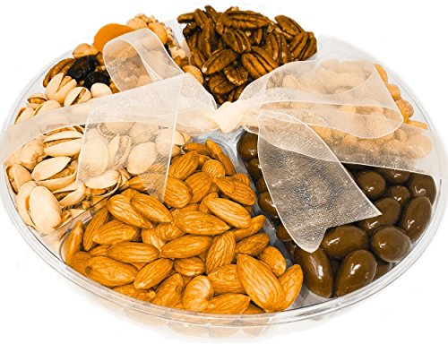 Nutty For You Holiday Gift Freshly Roasted Nuts, Roasted salted almonds, buttery cashews, tasty pistachios, Raw Pecans, sweet dried fruits & savory nuts (Large 2 LBS)