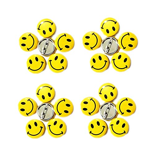 LGEGE 192PCS Mini Metal Smiley Smile Face Button Pins