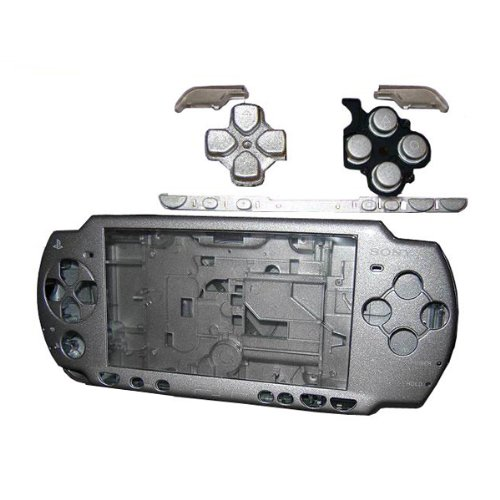(OSTENT Full Housing Shell Faceplate Case Parts Replacement Compatible for Sony PSP 2000 Console Color Silver)