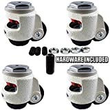 CasterHQ Wheel Master - Retractable Leveling Machine Stem Casters - 4 Pack - 2,400 lbs Per Set - Threaded Stem Version - Hardware Included