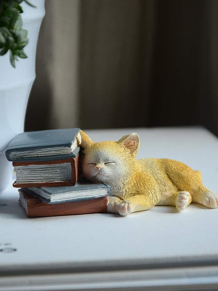 Mini cat Fairy Garden Plant pots Miniature Figurine Micro Landscape, Small cat Bonsai Ornament (Yellow)