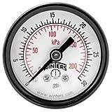 """Winters PEM Series Steel Dual Scale Economy Pressure Gauge, 0-30 psi/kpa, 1-1/2"""" Dial Display, +/-3-2-3% Accuracy, 1/8"""" NPT Center Back Mount"""