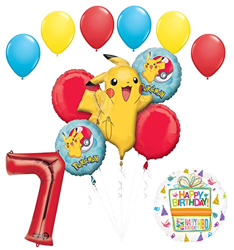Mayflower Products Pokemon 7th Birthday Party Supplies and Balloon Bouquet Decorations