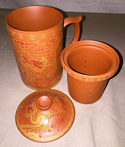 - 3pc Dragons & Fire Pearl Terra Cotta Senior Pottery Tea Mug Cup with Infuser and Lid