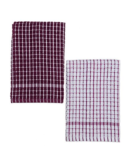Kuks Cuisine Kitchen Towels - Ultra Absorbent - 100% Cotton - Size: Jumbo (25.5 in x 17.7 in) - AKA European Tea Towels, Dish Cloths, Dish Towel - Checkered Pattern - Set of Two (Purple & White)