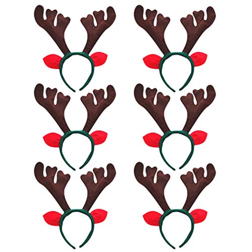 Reindeer Headband, Outgeek 6 pcs Reindeer Antlers Headband Deer Party Hats for Easter Halloween Christmas Kid's Party ()