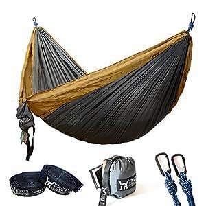 "Winner Outfitters Double Camping Hammock - Lightweight Nylon Portable Hammock, Best Parachute Double Hammock For Backpacking, Camping, Travel, Beach, Yard. 118""(L) x 78""(W) Khaki/Grey straps"