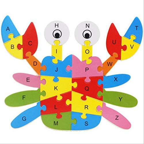 Polymer Colorful Wooden Animal Number and Alphabet Jigsaw Puzzle Educational Toy for Kids(Crab) by Polymer (Image #4)