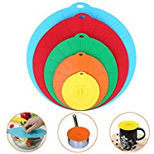 CORNMI Silicone Suction Lids Set of 5 Colorful Food Covers Microwave Safe BPA Free Mugs Pots Bowls Lids Reuseable Super Suction