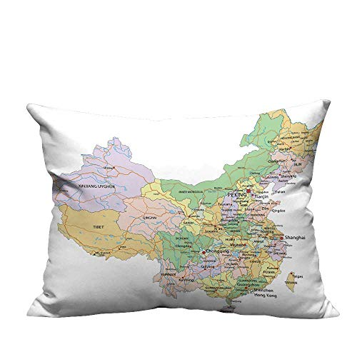 YouXianHome Home Decor Pillowcase China Highly detaile editable Political map Label Durable Polyester Fabric(Double-Sided Printing) 19.5x26 inch