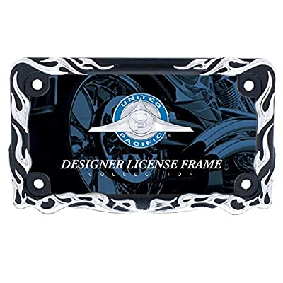 United Pacific 50129 Chrome/Black Flame Motorcycle License Plate Frame: Automotive