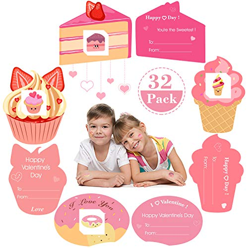 AOJOYS Valentines Cards for Kids, 32 Set Kids Valentine's Day Greeting Cards with Temporary Tattoos and Envelopes, Valentines Day Cards Pack for Classroom Exchange