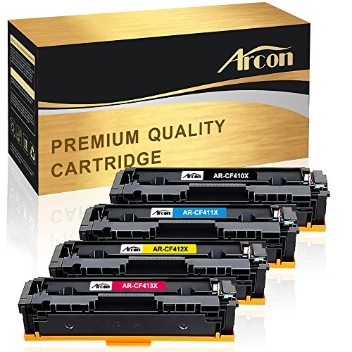 Arcon 4 Packs Compatible HP 410A 410X CF410X CF411X CF412X CF413X Toner Cartridge for HP Color LaserJet Pro MFP M477fnw M477fdw M477 Fnw M477fdn M452nw M452dn M452dw M452 Fdw Printer Toner Cartridge