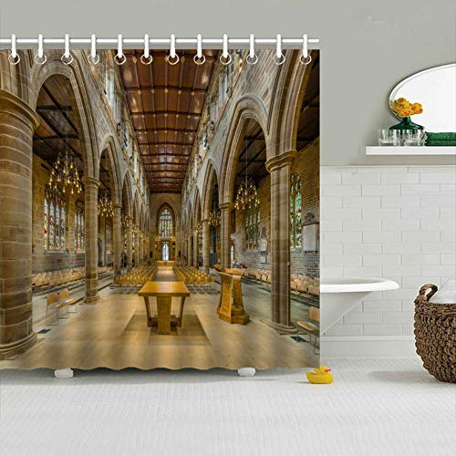 (Rui-Qi Polyester Shower Curtain - Amazing Wakefield Cathedral Nave Design for Bathroom,12 Curtain Hooks Included, 65