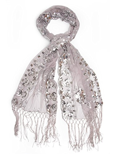 - Bohomonde Madison Shawl, Long Fringe Sequin Evening Wrap Gray/Silver