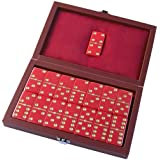 Avery Dominoes in Red Leatherette Case - Double Six D6 Game Set - 28 Urea Domino Pieces