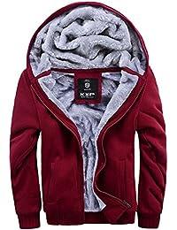 Men's Pullover Winter Fleece Hoodie Jackets Full Zip Warm Thick Coats