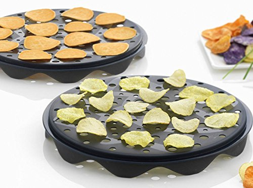 Top Chips Maker - Mastrad Set of 2 Interlocking Silicone Chip Trays - Crisp Vegetables Fruits Without Fats and Oils - Microwave and Dishwasher Safe (Best Potatoes For Crisps)