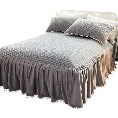LIFEREVO Luxury Velvet Mink Diamond Quilted Fitted Bed Sheet 3 Side Coverage 18 inch Drop Dust Ruffle Bed Skirt with Pompoms Fringe (King Gray)