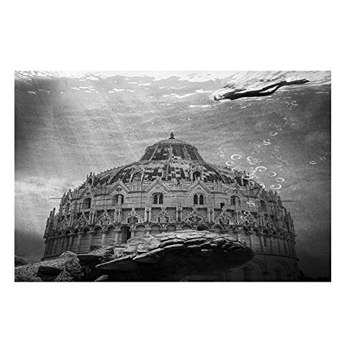 Monroda Aquarium Background Fish Tank Background,Undersea Construction Seabed Black and White 12.4 x 30.4in