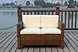 New Twin Rattan Wicker Conservatory Outdoor Garden Furniture Set Light mixed brown