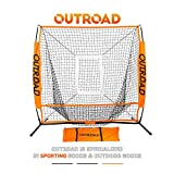 Outroad Baseball Nets Batting & Pitching 5 x 5 - Portable Practice Net w/Bow Frame &Strike Zone Target,Youth/Kids Hitting Net w/Carry Bag