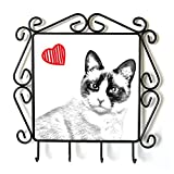 Art Dog Ltd. Snowshoe Cat, Clothes Hanger with an Image of a cat and Heart