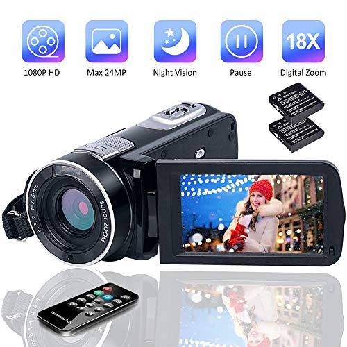 Camcorder Video Camera Full HD Vlogging Camera 1080P 24.0MP Digital Camera Night Vision Pause Function with Remote Controller