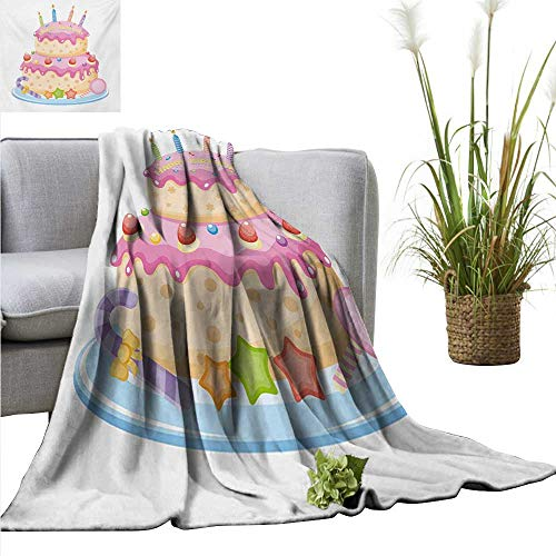 AndyTours Weighted Blanket,Kids Birthday,Pastel Colored Birthday Party Cake with Candles and Candies Celebration Image,Pale Pink,Indoor/Outdoor, Comfortable for All Seasons 30