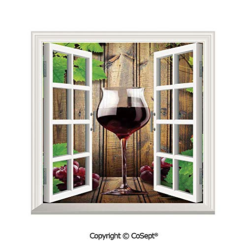 SCOXIXI Creative Window View Wall Decor,Wine Glass Grapes Rustic Wood Kitchenware Home and Cafe Interior Art Design Decorative,Window Stickers Have Beautiful Scenery(26.65x20 inch) (Wine Ct Southern Co)