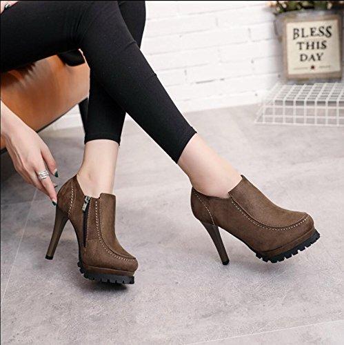KHSKX-Black Winter New Shoes Round Head Water-Matte Fine With 11Cm High-Heeled Side Zipper Boots 37 BQcJea71