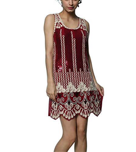 Whitewed Embroidery 1920s Great Gatsby Flapper Girl Cocktail Costume Dress Red (Flapper Costume Girls)
