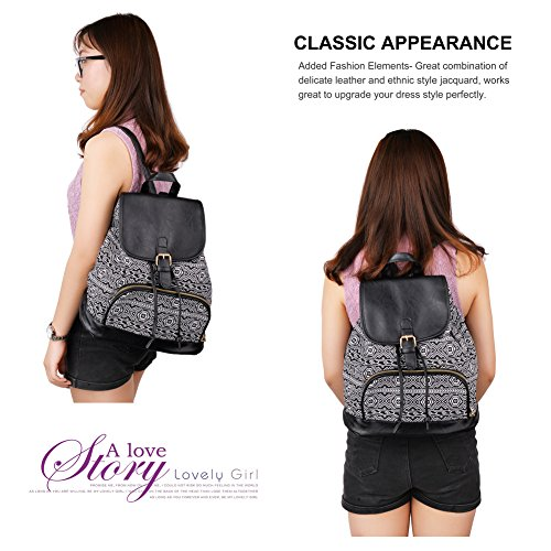 Vibiger Stylish Canvas Backpack Casual Bag Drawstring Backpacks School Bag Daypack with Delicate Printing for Women (B-Black) by VBIGER (Image #5)