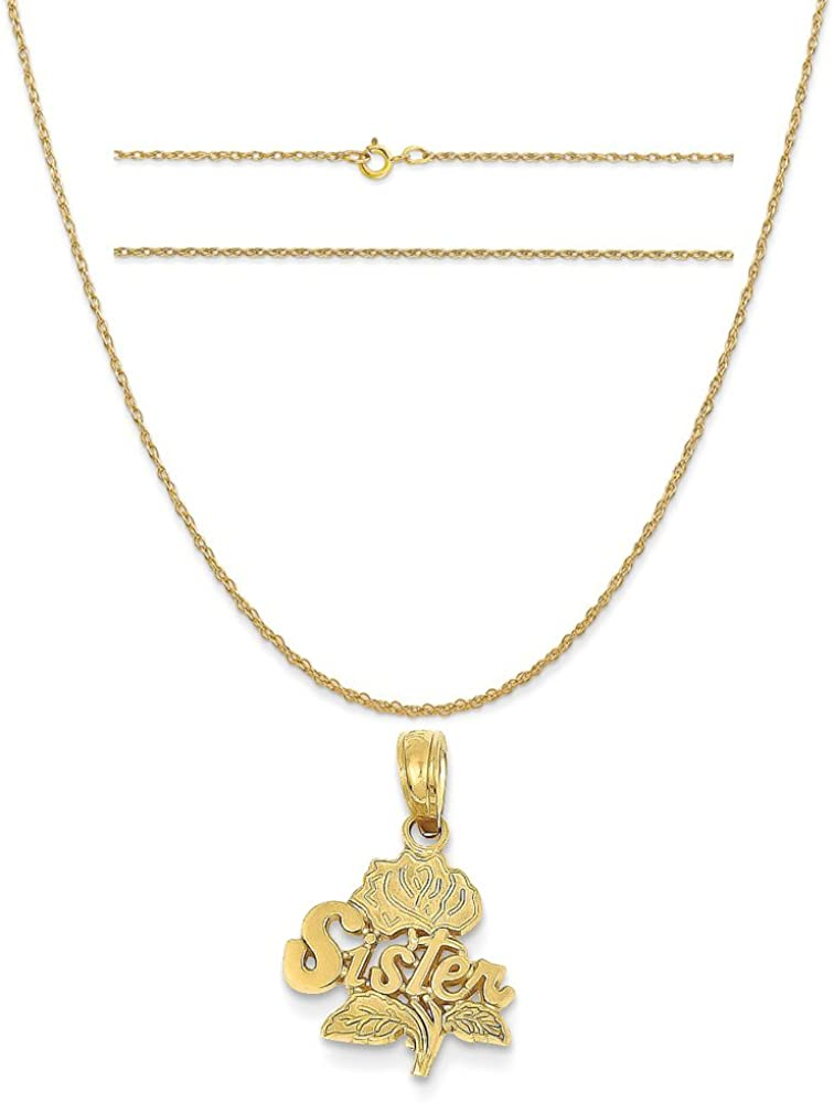 K/&C 14k Yellow Gold Sister Rose Pendant on a 14K Yellow Gold Carded Rope Chain Necklace