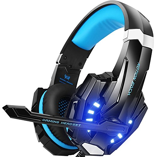 BENGOO Stereo Gaming Headset for PS4, PC, Xbox One Controller, Noise Cancelling Over Ear Headphones with Mic, LED Light, Bass Surround, Soft Memory Earmuffs for Laptop Mac Nintendo Switch Games