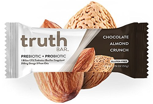 Truth Bar (Prebiotic + Probiotic) - Chocolate Almond Crunch (12 Pack) - Low Sugar, Gluten Free, High Fiber, 10g of Protein, Non-GMO, Soy Free, Kosher, Nutrition Snack Bar with Premium Dark Chocolate