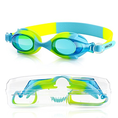 Childrens Swimming Goggles (Kids Child Swim Goggles, Amazer Kid Child Swimming Goggles with Clear Vision Anti Fog UV Protection No Leak Come Easy to Adjust with Free Protection Case for Kids Child Early)