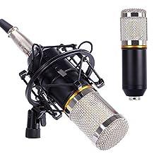 Condenser Microphone, Cahaya Studio Microphone for Radio Broadcasting Studio, Voice-over Sound Studio, Recording - (Black-Silver)