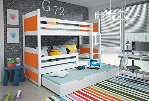 hochbett rico 3 kiefernholz 200 90 farbe wei matratzen lattenrost inkl bettmix. Black Bedroom Furniture Sets. Home Design Ideas